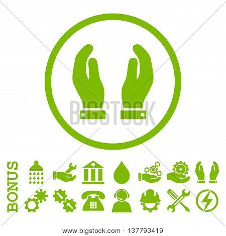 Care Hands glyph icon. Image style is a flat pictogram symbol inside a circle, eco green color, white background. Bonus images are included.