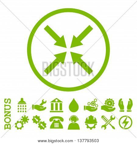 Center Arrows glyph icon. Image style is a flat pictogram symbol inside a circle, eco green color, white background. Bonus images are included.