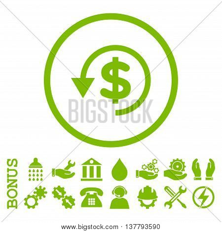 Chargeback glyph icon. Image style is a flat pictogram symbol inside a circle, eco green color, white background. Bonus images are included.