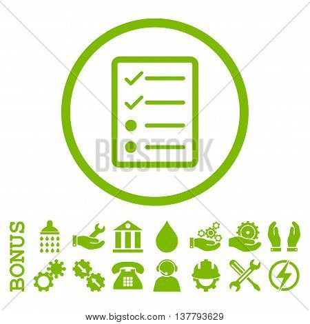Checklist Page glyph icon. Image style is a flat pictogram symbol inside a circle, eco green color, white background. Bonus images are included.