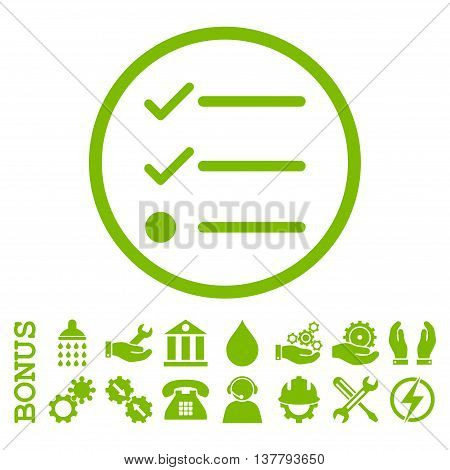 Checklist glyph icon. Image style is a flat pictogram symbol inside a circle, eco green color, white background. Bonus images are included.