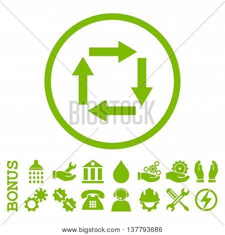 Circulation Arrows glyph icon. Image style is a flat pictogram symbol inside a circle, eco green color, white background. Bonus images are included.