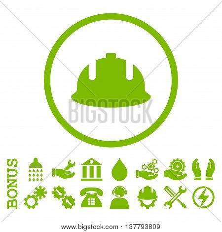 Construction Helmet glyph icon. Image style is a flat pictogram symbol inside a circle, eco green color, white background. Bonus images are included.