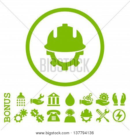 Development Helmet glyph icon. Image style is a flat pictogram symbol inside a circle, eco green color, white background. Bonus images are included.