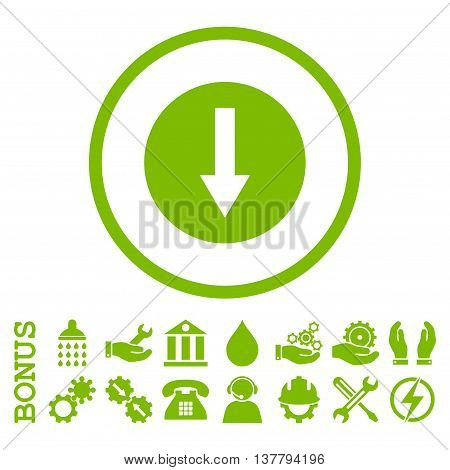 Down Rounded Arrow glyph icon. Image style is a flat pictogram symbol inside a circle, eco green color, white background. Bonus images are included.