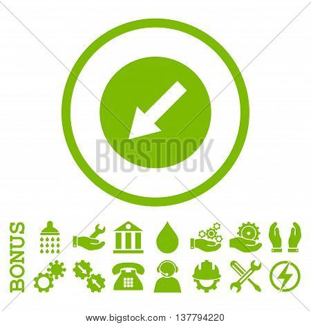 Down-Left Rounded Arrow glyph icon. Image style is a flat pictogram symbol inside a circle, eco green color, white background. Bonus images are included.