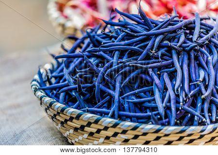 Green Blu Beans In A Wicker Basket