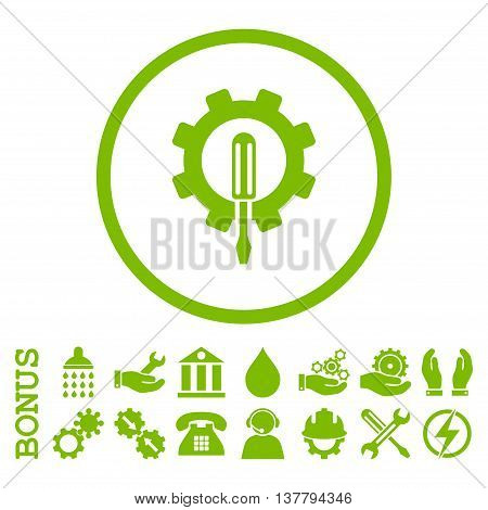 Engineering glyph icon. Image style is a flat pictogram symbol inside a circle, eco green color, white background. Bonus images are included.