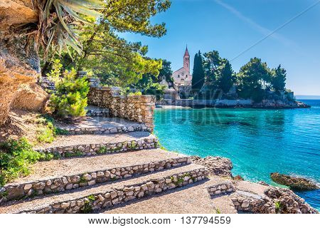 Ancient dominican monastery is landmark in town of Bol, Island of Brac, Croatia.