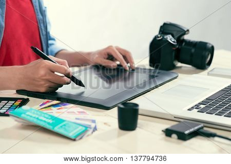 Photo editor working place. Design creative inspiration ideas.