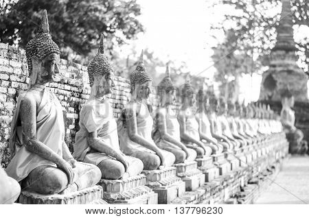 B/W temples in Ayutthaya with their History, Thailand