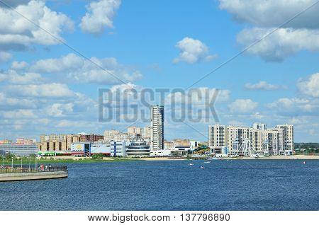 Kazan, Tatarstan, Russia - July 6, 2016. Panorama of the right bank of the river Kazanka. View of the hotel