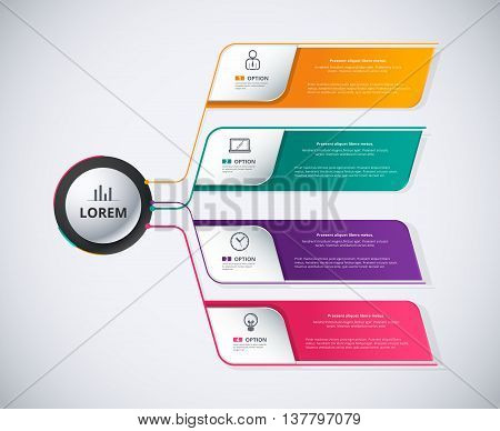 Infographic Diagram 4 Color Of Choice Background. Organization Diagram For Business Corporate. Inclu
