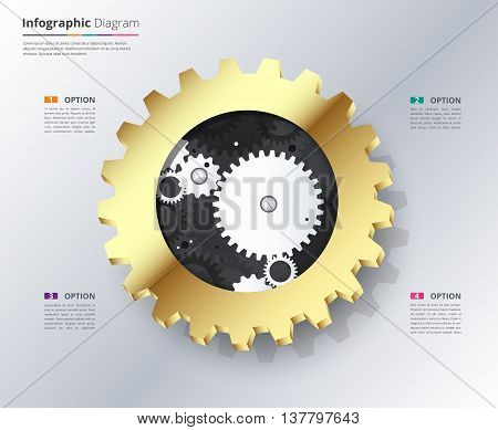 Gold Gear Infographic With Sample Text. Engineering Infographic With Gold Gear Concept. Gear Vector