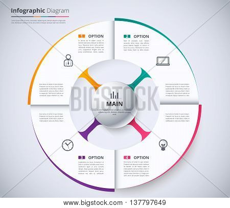 Circle Infographic Design Template. Wheel Concept. System Diagram For Presentation. White Informatio