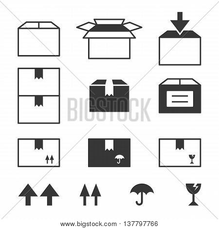 Simple set of box and package illustration, box line icons set with symbol