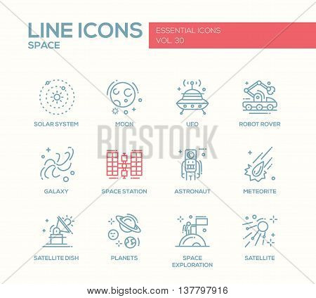 The Space - modern vector plain simple line design icons and pictograms set. Solar system, moon, ufo, robot rover, galaxy, space station, astronaut, meteorite, satellite, planets exploration