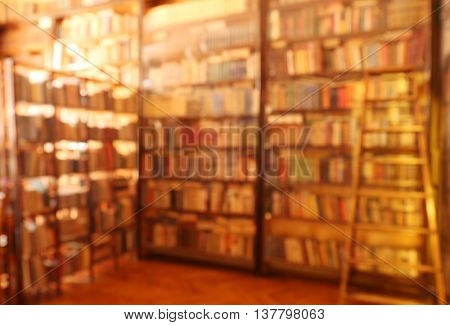 Blurred library background
