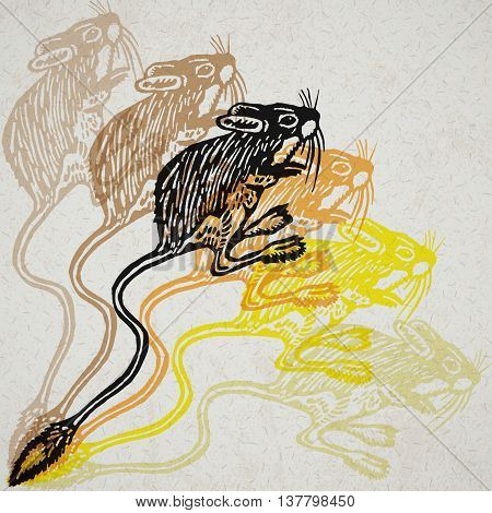 Jerboa sign. Desert small mammal. Vector engraved Illustration. Linocut Jerboa Isolated on old paper