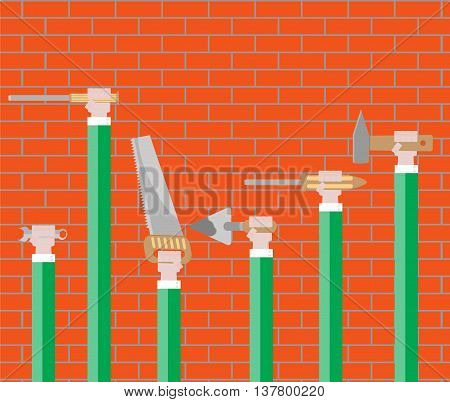 Hand tools design flat. Hammer and hand holding tool vector illustration
