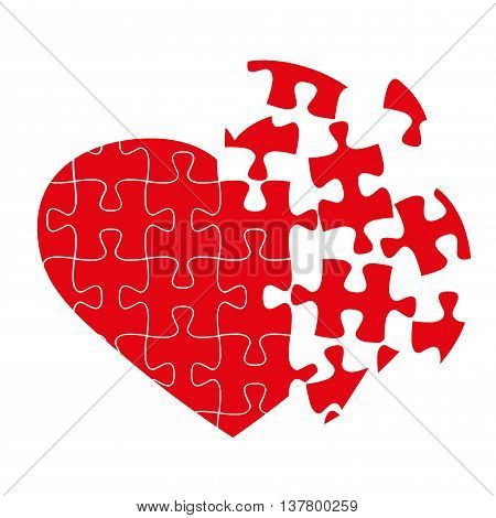Broken puzzle heart isolated on white vector illustration