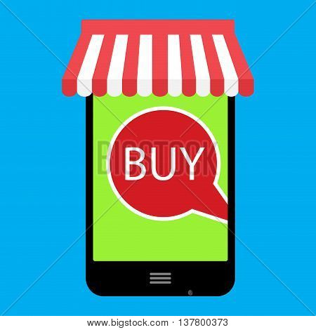 Buy onlline with web store. Shooping store and promotion commerce shopping vector illustration