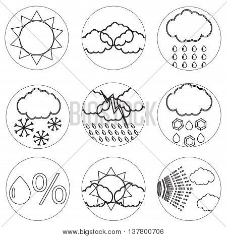 Weather icons set line for mobile applications. Weather icons and weather forecast vector illustration