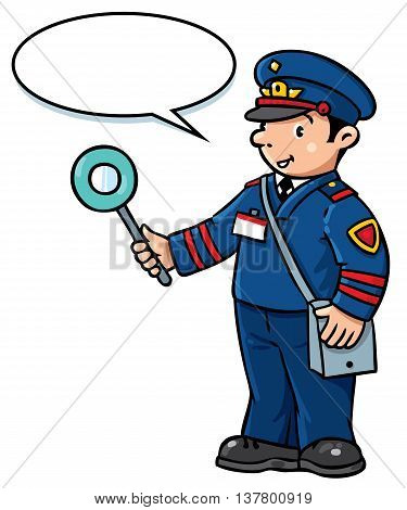 Children vector illustration of funny railroader in uniform. Profession series. With balloon for text.