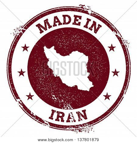 Iran, Islamic Republic Of Vector Seal. Vintage Country Map Stamp. Grunge Rubber Stamp With Made In I