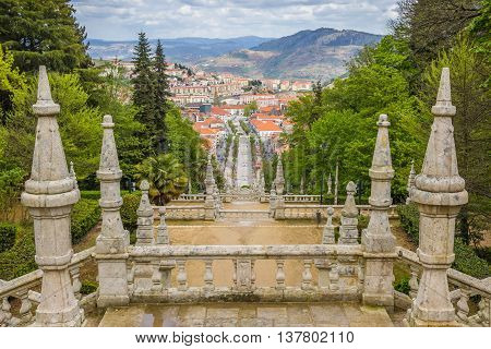 LAMEGO, PORTUGAL - APRIL 22, 2016: Stairs of the Sanctuary of Our Lady of Remedios in Lamego, Portugal