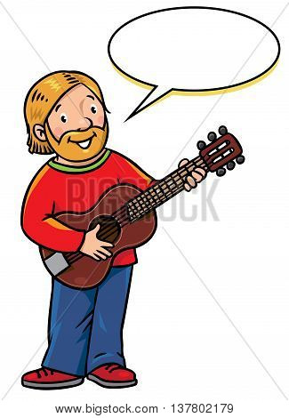Children vector illustration of funny smiling musician or guitarist or artist with guitar. Profession series. With balloon for text.