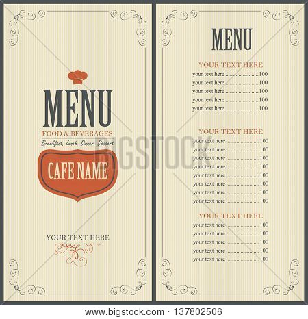 Menu Food and beverage for the restaurant in retro style with toque