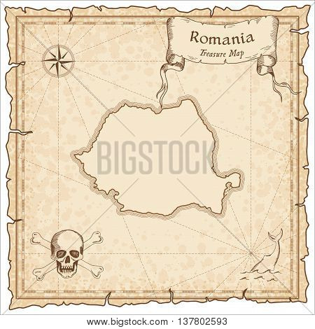 Romania Old Pirate Map. Sepia Engraved Template Of Treasure Map. Stylized Pirate Map On Vintage Pape