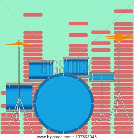 Drum set flat style. Drum kit and music musical instruments vector illustration