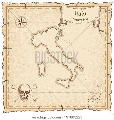 Italy Old Pirate Map. Sepia Engraved Template Of Treasure Map. Stylized Pirate Map On Vintage Paper.