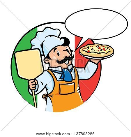 Emblem of funny cook or chef or baker with pizza on background colors of the Italian flag. Children vector illustration. With balloon for text
