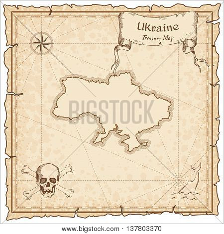 Ukraine Old Pirate Map. Sepia Engraved Template Of Treasure Map. Stylized Pirate Map On Vintage Pape