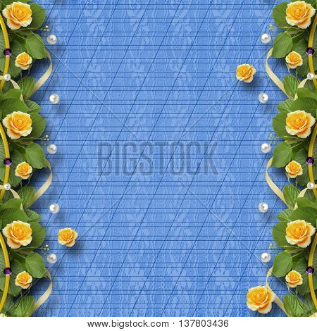Beautiful Greeting Card With Bouquet Of Yellow Roses