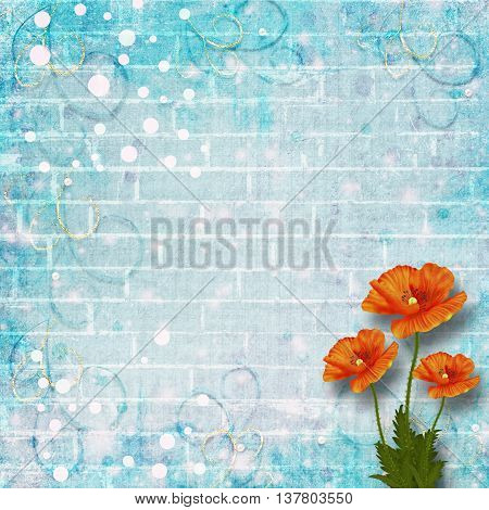 Beautiful Red Poppies On Background Of Old Brick Wall