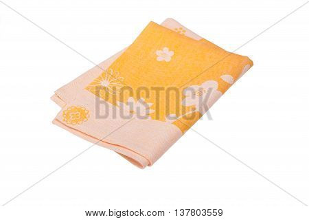 Yellowl kitchen towel with flowers on white background