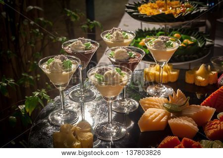 Thai Dessert  For Buffet Line In Wedding Party.