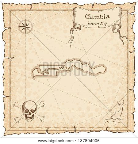 Gambia Old Pirate Map. Sepia Engraved Template Of Treasure Map. Stylized Pirate Map On Vintage Paper