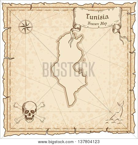 Tunisia Old Pirate Map. Sepia Engraved Template Of Treasure Map. Stylized Pirate Map On Vintage Pape