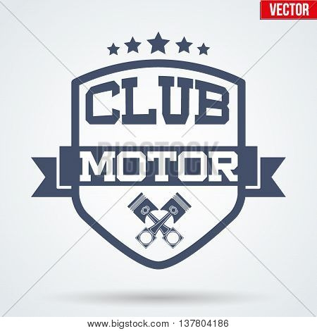 Vintage Motor Club Signs and Label with stars and pistons. Emblem of bikers or drivers and riders. Editable Vector illustration Isolated on background.