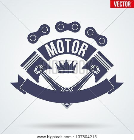 Vintage Motor Club Signs and Label with chain and pistons. Emblem of bikers or drivers and riders. Editable Vector illustration Isolated on background.