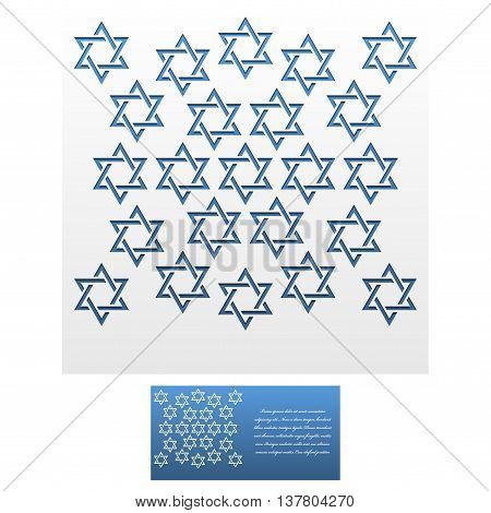 Invitation Envelope template of Jewish star of David. For Laser cutting. Square format. Die of wedding and invitation card. Vector Illustration isolated on white background.