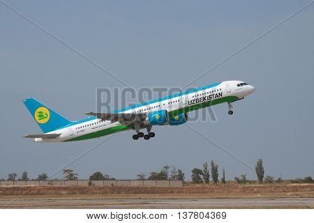 Simferopol Ukraine - September 13 2010: Uzbekistan Airways Bowing 757-200 is taking off from the runway