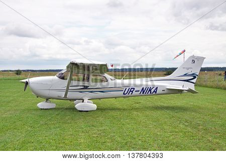 Zhitomir Ukraine - July 31 2011: Cessna 172 Skyhawk parked on the grass airfield