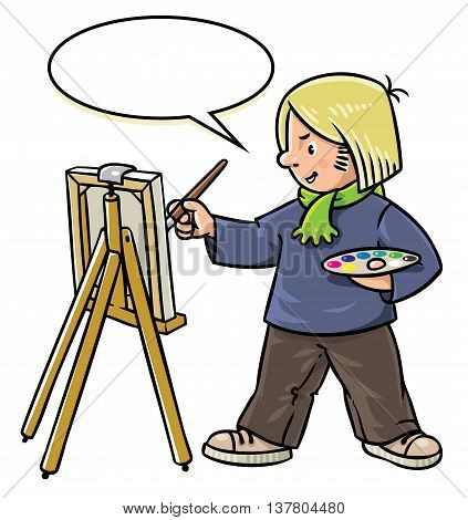 Children vector illustration of funny artist or painter with paintbrush and palette at the easel. Profession series. With balloon for text
