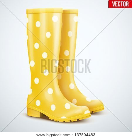 Pair of mottled speckled yellow rubber rain boots. Symbol of garden wok or autumn and weather. Vector illustration Isolated on white background.